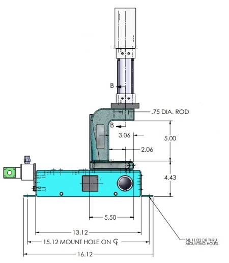A-0019 Pneumatic Arbor Press Dimensions Side View