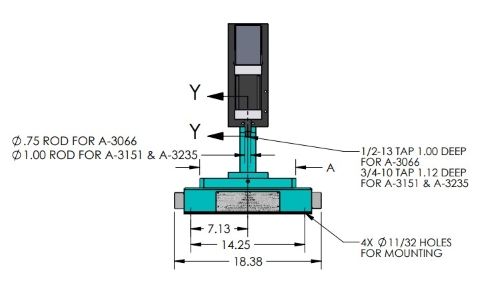 A-3066 Pneumatic Arbor Press Dimensions Front View