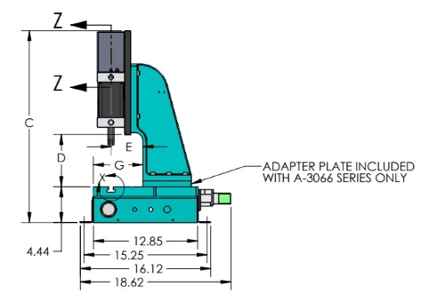 A-3066 Pneumatic Arbor Press Dimensions Side Angle
