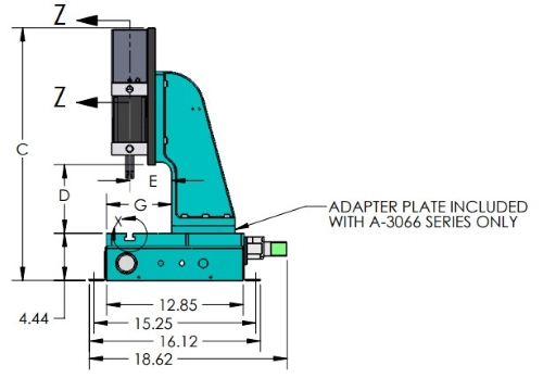 A-3151 Pneumatic Benchtop Arbor Press Side View