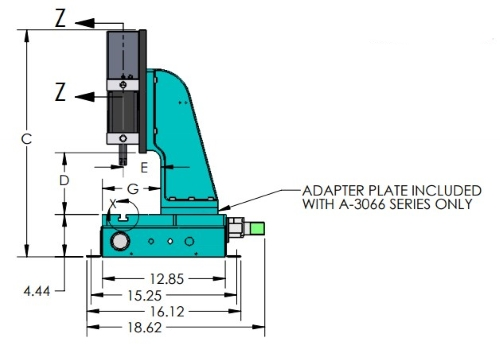 A-3235 Pneumatic Arbor Press Side View