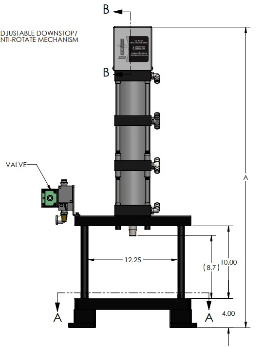 A-5302 Pneumatic Press Dimensions Front View