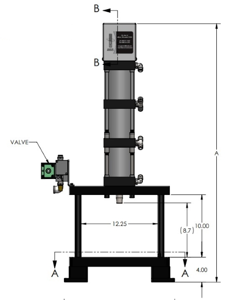 A-5604 Pneumatic Arbor Press Dimensions Front View