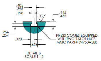 AP-810-AH-T-2(SL's) Arbor Press T-Slot Cross Section