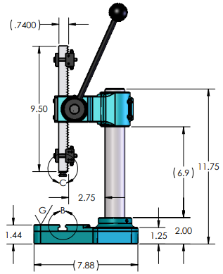 AP-810-AH-t-2(SL's) Manual Arbor Press Dimensions Side View