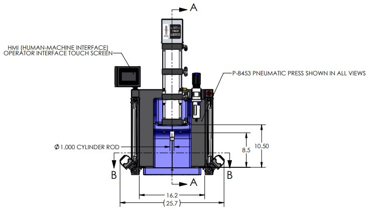 P-8302 Pneumatic Press Dimensions Front View